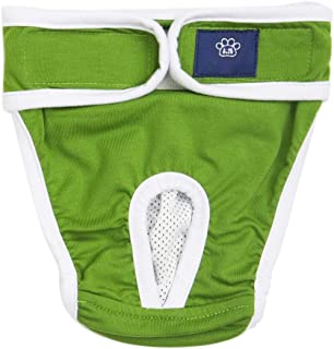 Flameer Adjustable Pet Dog Physical Pant, Female Dog Sanitary Nappy Diaper for Small Medium Pet Dogs, Cotton Material, S and XL Blue/Yellow/Green Optional
