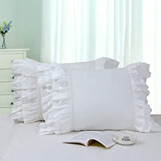 Softta Cotton Ruffle Lace Patchwork Pillow Cover Shams (Pack of 2 NO Filling) White Standard (Twin/Full/Queen)