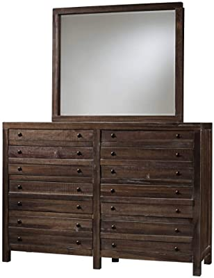 Benzara BM187803 Transitional Style Eight Drawers Solid Hardwood Dresser, Brown