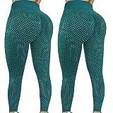2Pcs Mujer Leggings de Color Sólido Pantalones Deportivos de Cintura Alta Leggins de Levante los Cadera Pantalón de Deporte Absorbentes y Transpirables Mallas Elásticos para Correr Gym Yoga