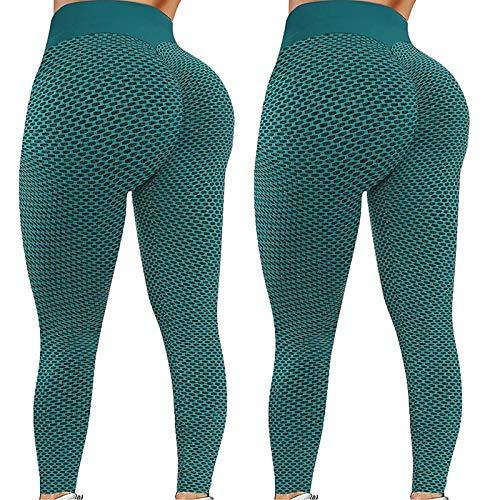 Lenfeshing Leggins Deportivos Mujer Mallas Pantalones Cintura Alta Pantalón Moda sin Costuras para Yoga Fitness Running Deporte Elásticos y Transpirables