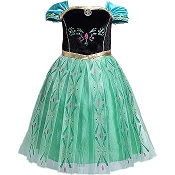 LOBTY Disfraz Anna Frozen Niñas con Capa Princesa Ana Vestido ...