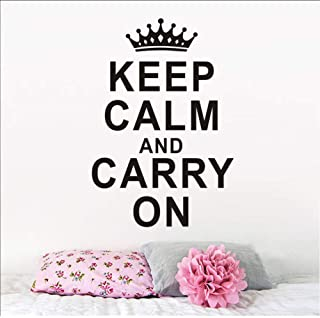 Wall Stickers Keep Calm and Carry On Wall Decal Vinyl Inspirational Quote Removable Wall Sticker for Girl Bedroom Transfer Vintage 56X88Cm