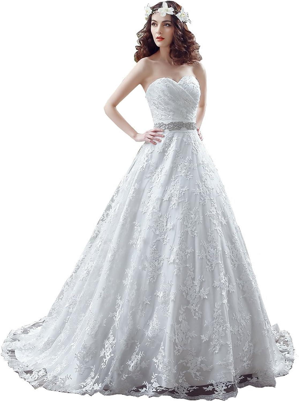 BeautyEmily Lace Bow Sleeveless Sweetheart Chapel Train Wedding Dress