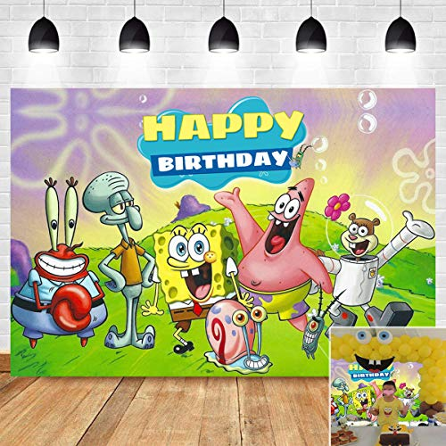Cartoon Animal Photography Backdrop Children Baby Kids Happy 1st Birthday Supplies Patrick Star Spongebob Party Decorations Photo Background Banner Vinyl 7x5ft Photo Booth Studio Props Cake Table