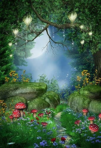 CdHBH 10x12ft Fairy Tale Huge Mushroom Wood Fence Wooden Bench Lawn Shining Stars Colorful Butterfly Portrait Costume Photo Photography Background Cloth Festival Venue Party Setting