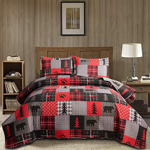 Plaid Bedspread Set Full/Queen Size Rustic Bedding Lodge Quilt Bear Bedding Red Black Plaid Patchwork Coverlet Country Quilt Reversible Bedspread Plaid Print Quilt Lightweight Coverlet Set Bear Quilt