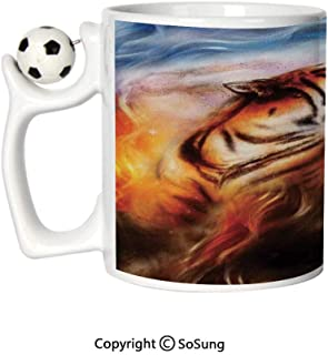 Safari Decor Sports Football Mug,Wild and Angry Tiger Portrait Fire Blue Flame Brave Mammal Jungle Forest King Fearless Roar Ceramic Coffee Cup,Great Novelty Gift for Kids & Audlt