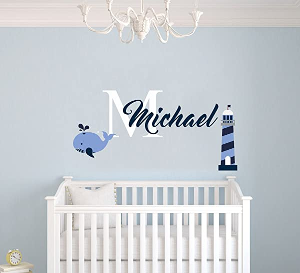 Custom Name Lighthouse And Whale Animal Series Nautical Theme Baby Boy Wall Decal Nursery For Home Bedroom Children MM12 Wide 22 X11 Height
