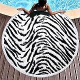 FGVBWE4R 3D Animal Print Toalla de Baño Flor de Flecos Microfibra Toalla de Playa Piel de Animal Ronda Yoga Estera Decoración del Hogar Leopard Beach Towel-14