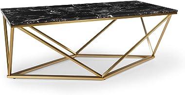 Besoa Black Onyx I Table Basse, Table d'appoint, Dimensions : 110 x 42,5 x 55 cm (lxHxP), Plateau : marbre Noir, Cadre :
