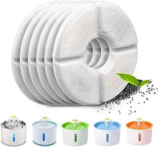 Tecatty Lot de 6 filtres automatiques pour fontaine à chat, avec résine et charbon actif, filtre à eau de rechange pour ch...