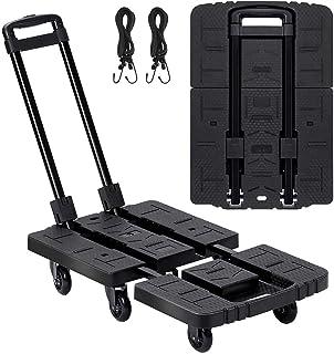 LEMONDA 7 Wheels Folding Hand Truck, 540lbs Heavy Duty Trolley Cart , Fold Up Luggage Utility Dolly with 2 Elastic Ropes, ...