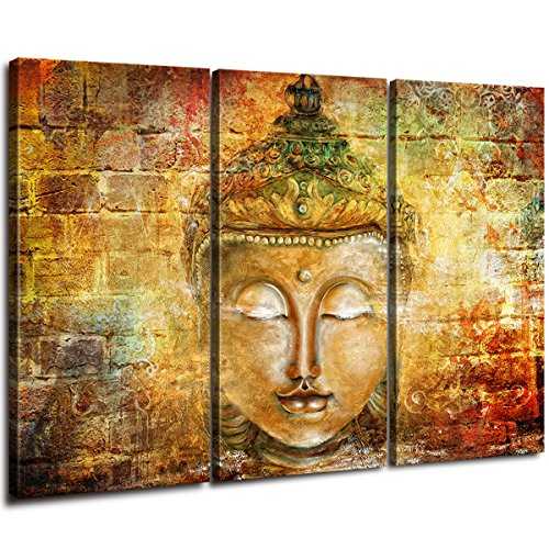 DAXIPRI Canvas Prints Buddha Statue Of Sakyamuni Religious Wall Art Home Decor 3 Panel Sets Hand Painted Oil Painting Framed Pictures Mural Wood Frame Home Office Decorations Painting 16'X 32' / Piece