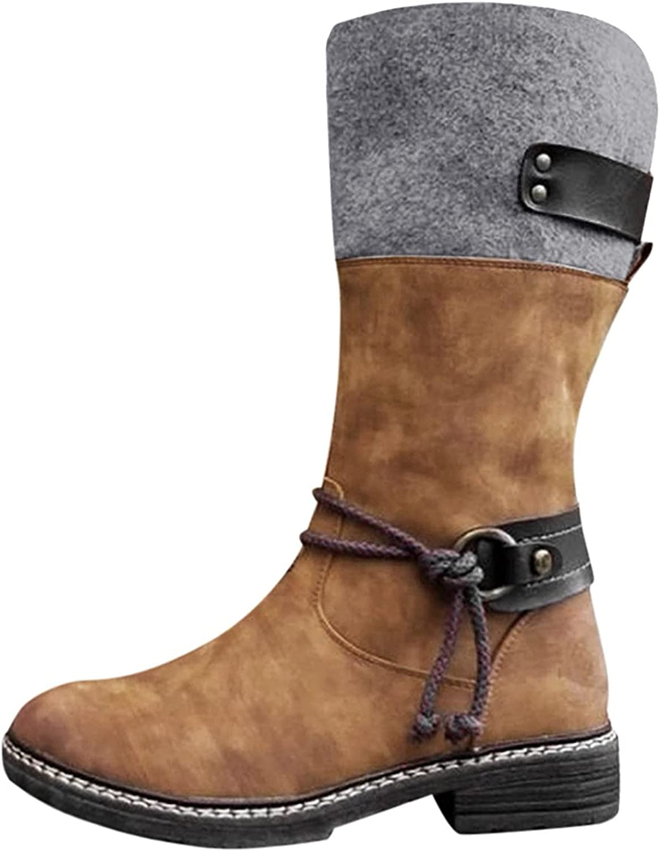 Tennis Shoes Womens, Women Knee High Boots, Autumn Winter Cotton Booties Casual Outdoor Low Heel Boots Shoes Flat Heel Martin Boots