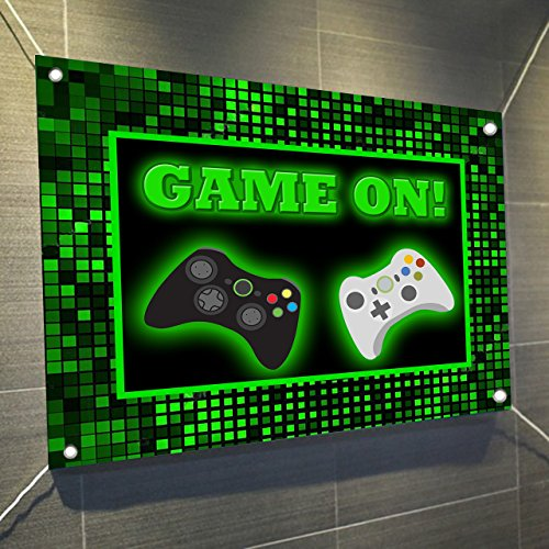 "Game On Video Game Controller Large Vinyl Indoor or Outdoor Banner Sign Poster Backdrop, party favor decoration, 30"" x 24"", 2.5' x 2', Video Game Truck Party"