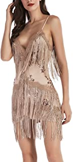 BeneGreat Women's Deep V Neck Sexy Strap Tassel Sequins Mini Bodycon Night Club Party Dress