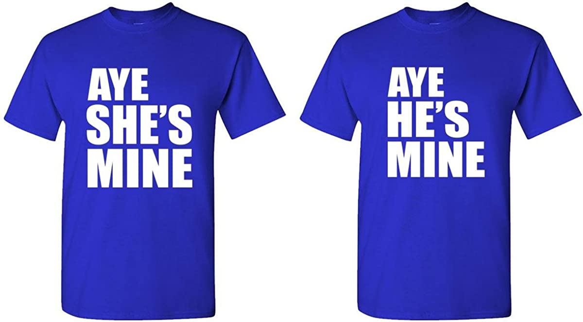 Aye He's & She's Mine - Couples Two T-Shirt Combo, MED Left, SML Right, Royal