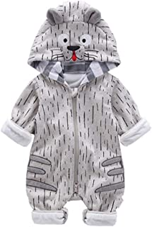Fairy-Baby Unisex Kids Casual Playwear One Piece Bodysuit with Adorable Cartoon Animal Style Design Babyboys Cotton Romper Long Sleeve Autumn Homewear (Color : Gray, Size : 80)