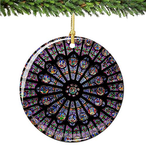 Rose Window Christmas Ornament, Porcelain 2.75' Double Sided Notre Dame Cathedral Paris Christmas Ornaments