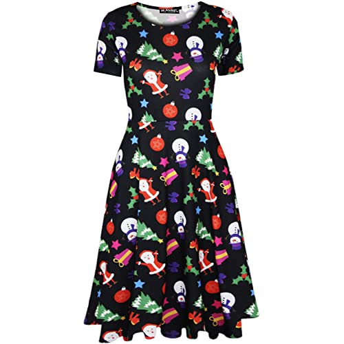 0eee63183e92 Fashion Star Womens Reindeer Snowflake Christmas Santa Penguin Xmas Pudding  Gingerbread Midi Skater Dress