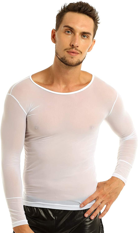 ACSUSS Men's Sexy Mesh Sheer Long Sleeve T-Shirt Underwear Henley Undershirt Nightwear
