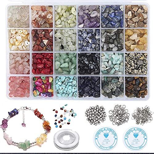 Komake 24 Colori Perline Pietre Naturale Preziose Pietre Bigiotteria Fai da Te Irregolare Pietre Kit Creazione Cristalli Pietre per Collana Braccialetto Anelli Accessori,Perline da 5-8 mm
