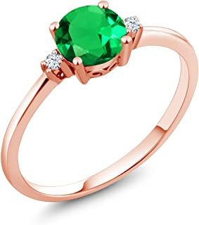 10K Rose Gold Engagement Solitaire Ring set with 0.80 Ct Round Green Simulated Emerald and White Created Sapphires