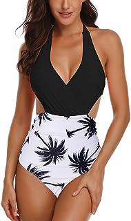 Bikinis Mujer Acolchadas Sexy Floral con Cordones de Impresión Sin Espalda Bikini Halter Una Pieza de Baño Monokinis S-XXL