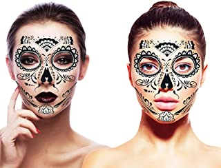 Day of The Dead Mask and Sugar Skull Face Temporary Tattoos Costume Kit (Glitter Web Design)