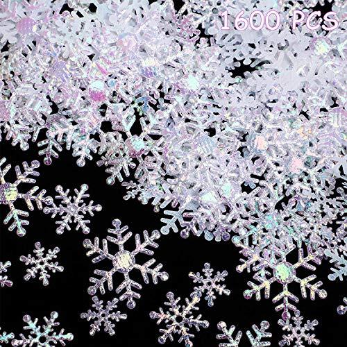 1600 Pezzi 3 Formati Decorazioni di Coriandoli di Fiocchi di Neve di Natale per Rifornimenti delle Decorazioni della Tavola di Festa di Compleanno di Nozze di Natale (Fiocco di Neve Bianco)