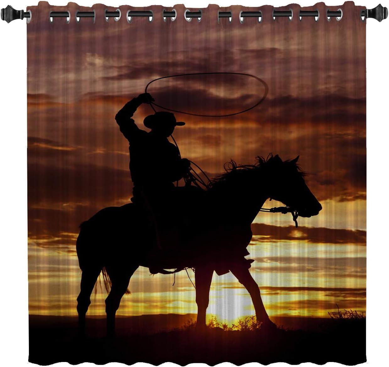 List price Chaven Home Darkening Window Curtain West B Fort Worth Mall Sunset Panel Cowboy