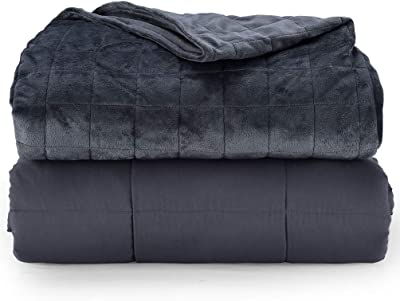 Rocklin Industry Chilla 20 lbs Weighted Blanket Double Sided Minky Duvet Cover Included Minky Cover Gray 60in x 80in Navy Blue for 140-220lb Person