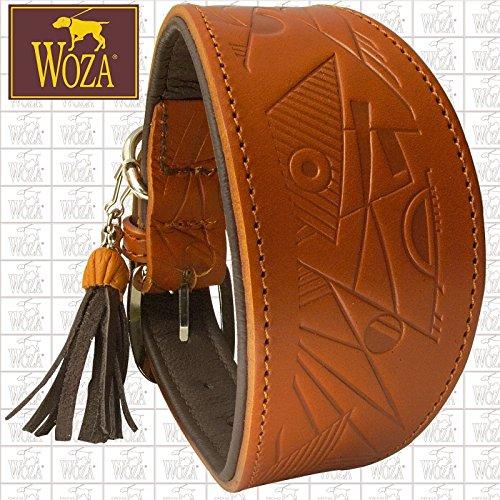 Woza Premium WINDHUND Halsband 6,3/42CM Picasso Vollleder Cognac RINDNAPPA BRAUN Handmade Greyhound Collar