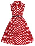 GRACE KARIN Girls Retro Floral Print Swing Dresses with Belt (13-14 Years, CL9000-3)