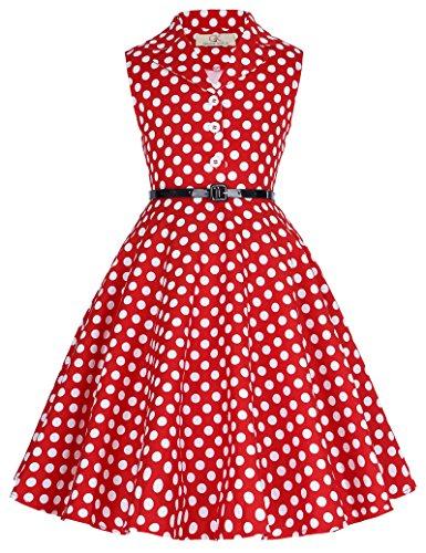 GRACE KARIN Niñas 1950S Vintage Vestido Lunares Solapa Vestido de Etiqueta 10 Años CL9000-3