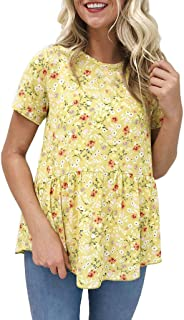 Women Floral Printing Short Sleeve Round Neck Tunic T-Shirt Tops Blouse