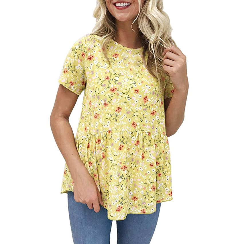 Willow S Women Fashion Casual Vintage Floral Printing O-Neck Short Sleeve Tunic Loose Comfy T-Shirt Tops Blouse