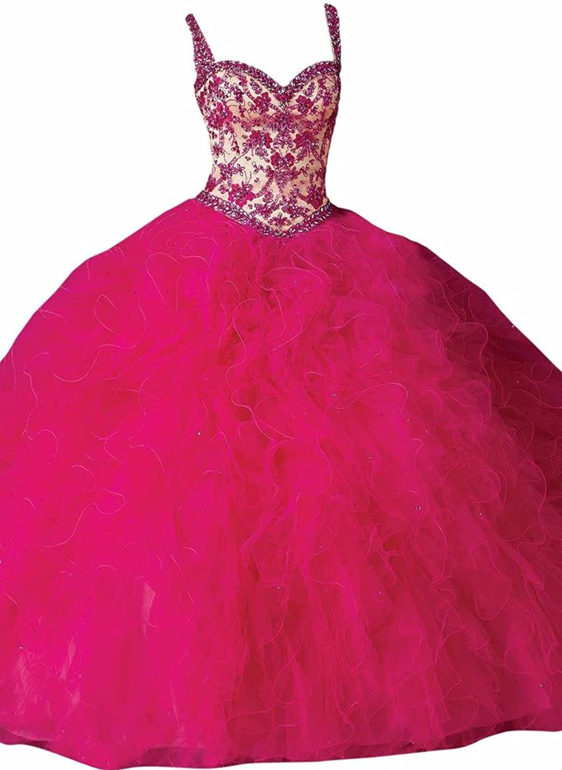 Dearta Women's Ball Gown Regular Straps Floor Laceup Tulle Quinceanera Dresses