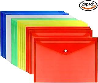 Goodlucky365 20pcs Carpetas Escolares Carpetas de Plástico Con Cierre de Botón Presión Tamaño del Sobre A4 Conjunto de 5 Colores-Translucidos Resistente Al Agua y Desgarro