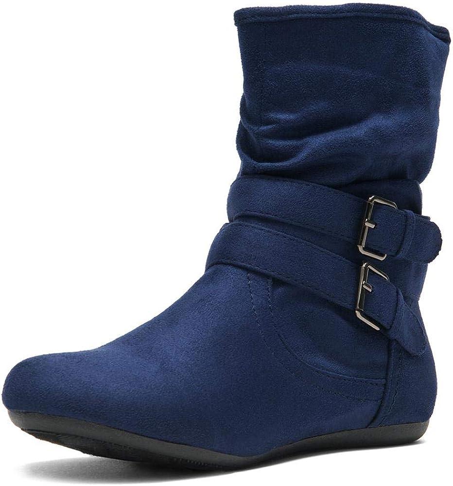 Herstyle Lindell Women's Fashion Flat Heel Calf Boots Side Zippe