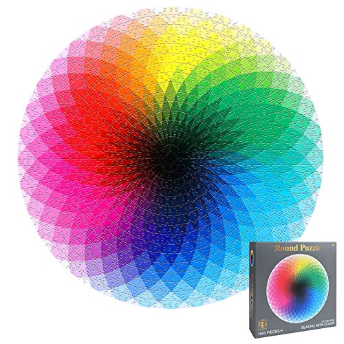 OMZGXGOD Puzzel 1000 Teile, Regenbogen Runde Geometrische Puzzle Kreative Regenbogen Puzzle, Erwachsene Kinder DIY Pädagogisches Stressfreisetzung Spielzeug