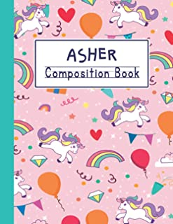 Asher Composition book: Personalized Primary Composition Notebook With drawing Space For Asher, Dotted Midline And Picture...