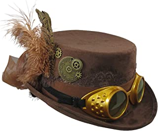 Deluxe Velvet 4.25 Inch Steampunk Top Hat with Removable Goggles
