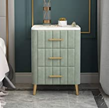 Marble Night Stand Bedside Table,Modern End Table with 3 Drawers,Side Table Furniture for Living Room Bedroom Office