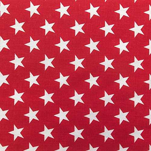 Stars on Red Poly Cotton 60 Inch Fabric by The Yard (F.E.)