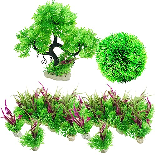 Cayway Plantas de Acuario Decoraciones, 27 Pz Plantas Artificiales Acuario Plantas de Plantas Artificiales Aquarium Decoration Plantes para Decoración de Acuarios y Peceras