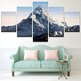 WLHWLH 5 Piece Canvas Wall Art Home Decor Canvas Print Painting Wall Art The Mount Everest Poster for Living Room Modern-Framed