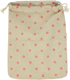 eMarto Cotton Linen Bag Cute Daisy Pattern Drawstring Storage Bag Gift Bag-Large