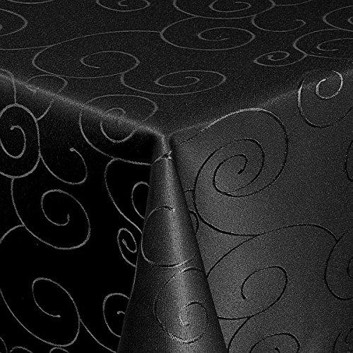 Meine-Tischdecke Maßanfertigung Sondergröße Übergröße Gartentischdecke im Ornamente-Lotus Design WASSERABWEISEND-PERLEFFEKT - Größe frei wählbar Schwarz 100cm x 100cm